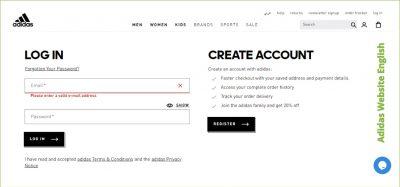 Adidas Website English